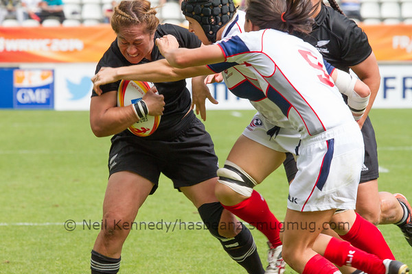 Game 28, Stade Jean Bouin, Round 5 USA - New Zealand 17 Aug 2014  Women's Rugby World Cup 2014