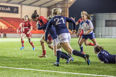 Sioned Harries drives for the line.