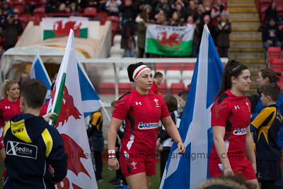 The Wales Ladies team take to the field for the anthems