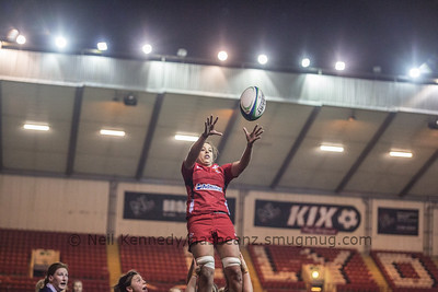 Sioned Harries at the line out
