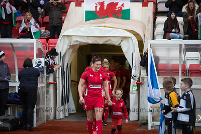 Dyddgu Hywel with her nephew, the game day mascot for Wales