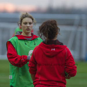 Kiera Bevan talks with Amy Day during warm up