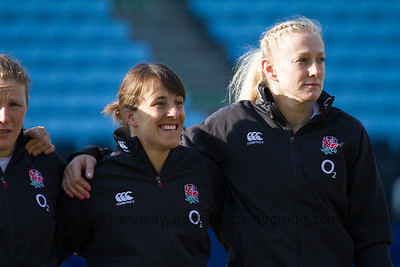 The England team line up for the anthems.  L to R: Katy Mclean, Tamara Taylor