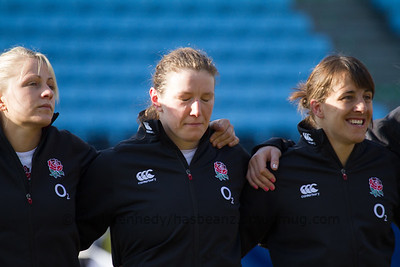 England Line up L to R: Ceri Large, Rochelle Clark,Katy Mclean