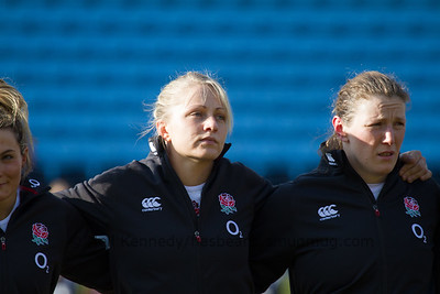 England Line up L to R: Ceri Large, Rochelle Clark