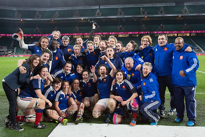 The winning French squad after the game,