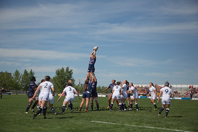 Laura Miller catches the high line out ball