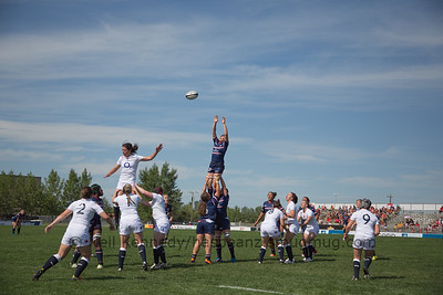 Laura Miller reaches for the high line out ball
