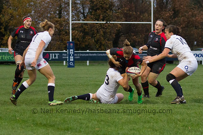 Frederique Rajotte is tackled