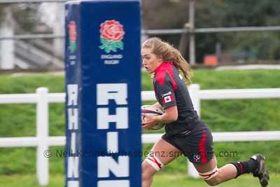 Katie Svoboda with the ball approaching the try line