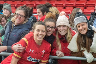 Smiles after Wales win with Sioned Harries and friends and team mates Fee Bowen, Jess Kavanagh-Williams, Elen Huxtable and Caryl James