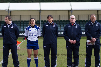 'The match officials with Referee Rose LaBreche and AR Bianca Zietsman