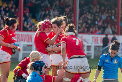 Sioned Harries (Whitland /Scarlets) is congratulated by Carys Phillips (Ospreys / Skewen) on her try