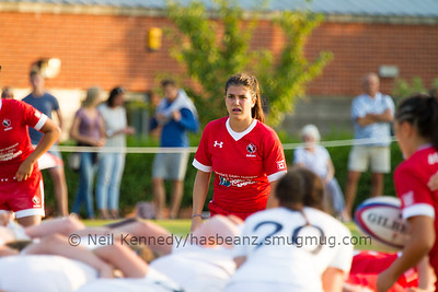 Julia Schell watches as the ball is about to go into the scrum