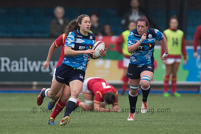 Rhona Lloyd with the ball