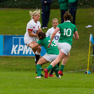 Claire Allan is tackled by Nicole Fowley