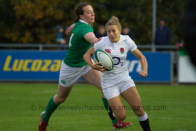 Fiona Pocock with the ball with Niamh Kavanagh in pursuit