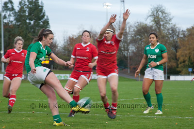 Karen Paquin attempts to fend Nikki Caughey's kick