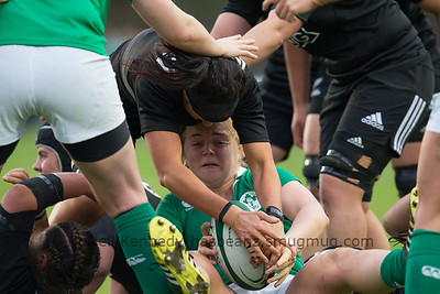 Charmaine Smith reaches for the ball as Cliodhna Moloney is taken to the ground