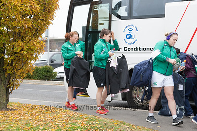 L to R Mairead Coyne, Ciara Griffin and Niamh Briggs arriving at th UCD Bowl