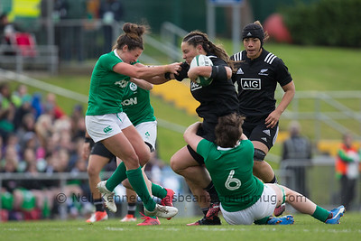 Aleisha Nelson is tackled by Ciara Griffin as she fends off Larissa Muldoon