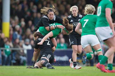 Alisha Nelson and Fiao'o Fa'amausili tackle Ailis Egan