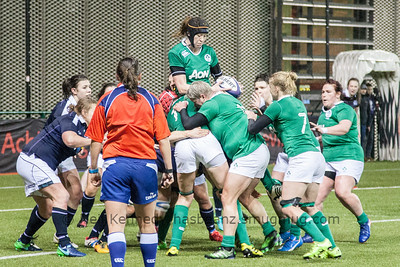 Marie Louise Reilly takes the ball for Ireland from the lineout