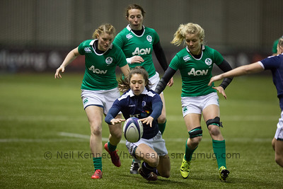 Rhona Lloyd dives for the loose ball
