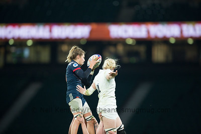 Marjorie Mayans takes the ball at the lineout
