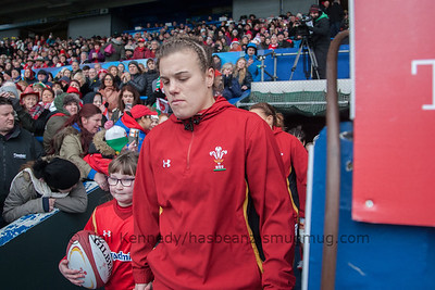 Carys Phillips leads the team out