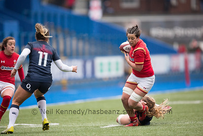 Sioned Harries is tackled but drives on