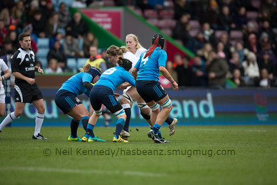Poppy Cleall takes the ball into contact