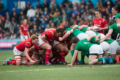 Rhiannon Parker waits to put the ball in the scrum
