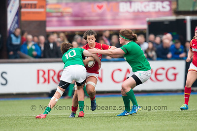 Sioned Harries takes the ball into contact