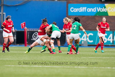 Sioned Harries is double tackled
