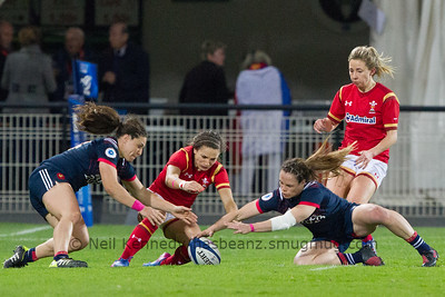 Mine!  Chloe Pelle, Jasmine Joyce and Elodie Poublan compete for the ball