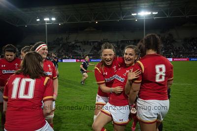 Alisha Butchers and Jasmin Joyce at the end of the game