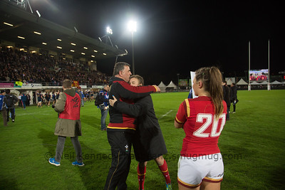 Carys Phillips (Captain) gets a post game hug from dad Rowland Phillips (Coach)