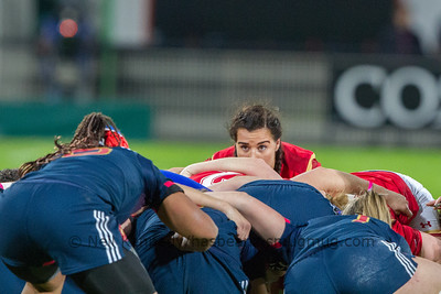 Shona Powell Hughes at the back of the scrum
