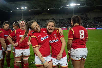 Alisha Butchers and Jasmin Joyce at the end of the game