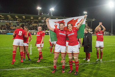 Amy Evans and Mel CLay with the flag