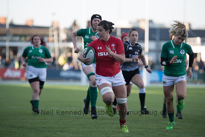 Sioned Harries with the ball,