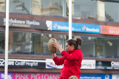 Sioned Harries takes the ball at lineout practice