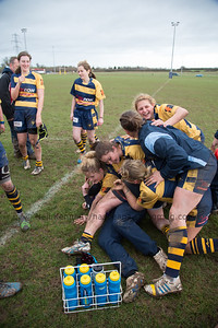 Pile on to celebrate win against local rivals Gloucester
