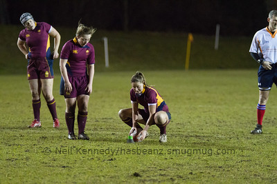 Joanne Jones prepares for a kick at the posts