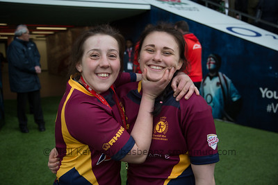 Jess Pritchard persuades Sophie Waugh to smile after winning the final