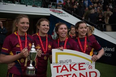 Olivia Jones,  Amber Regardsoe,  Fffion Jones and Chloe Davies with the cup