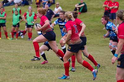 Harriet Mills with the ball