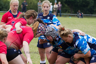 Lana Skeldon at hooker for Scotland gets ready for the Lichfield scrum as Jenny Maxwell, Scotland scrum half,  looks on
