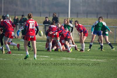 Lille Metropole Rugby Club Villeneuvois (LMRCV) vs Blagnac Saint Orens Rugby Feminin (BSORF) 22nd January 2017, Stadium du Littoral Grande Synthe, Dunkerque, France